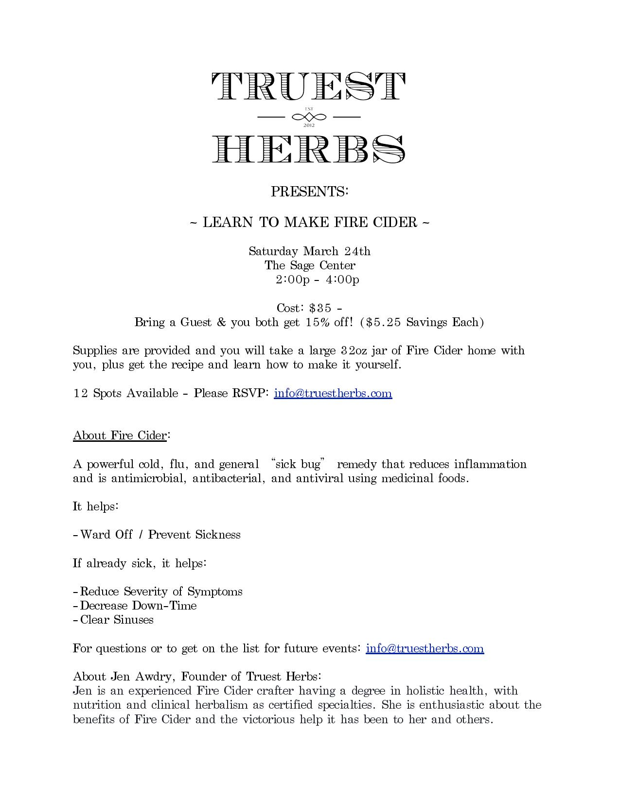 TRUEST HERBS PRESENTS: Learn to Make a Fire Cider